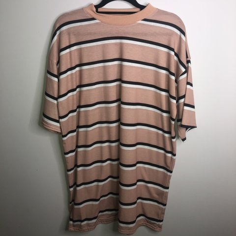 d30aa922f4b9 @teganhurst. last month. Ballyclare, United Kingdom. PLT Camel striped  oversized boyfriend T shirt dress