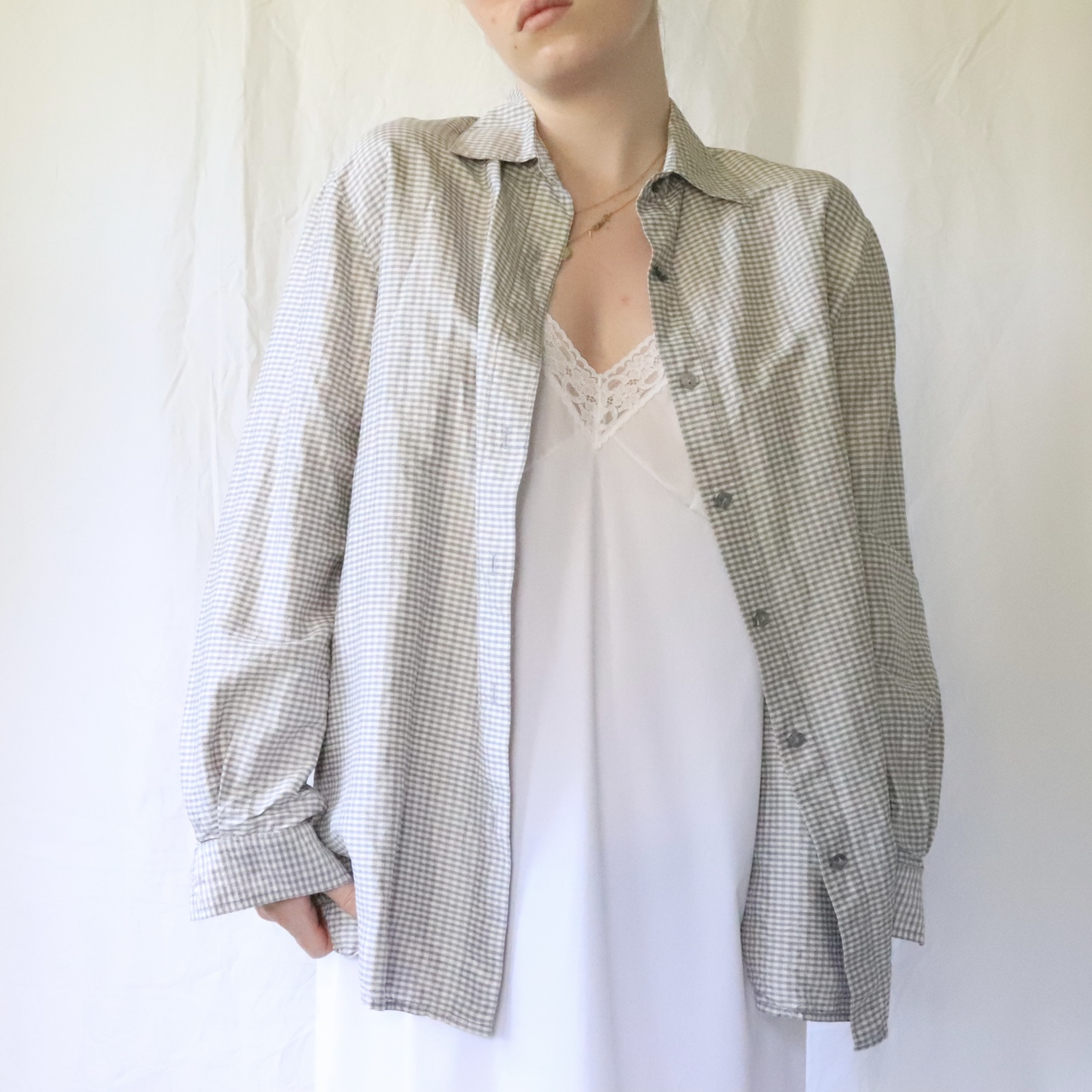 Product Image 1 - VINTAGE PURE SILK GREY GINGHAM