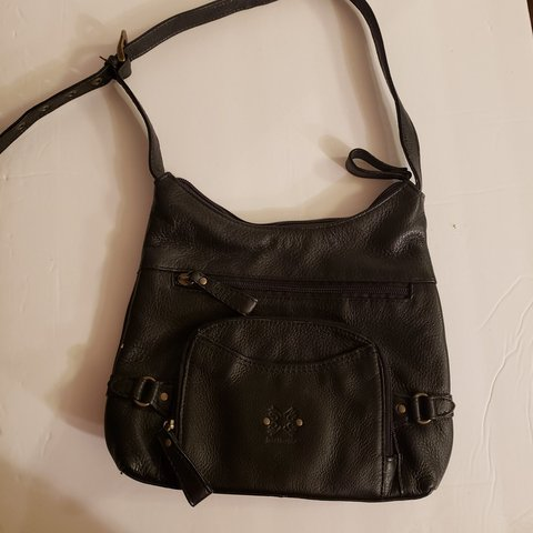 Stone Mountain Black Leather Handbag With Adjustable Used Depop