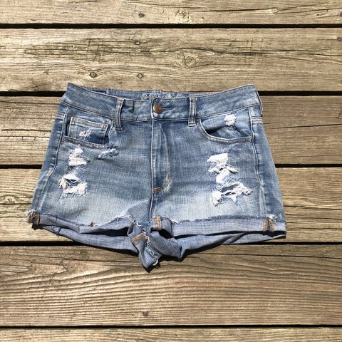 49351eefb9e @julianne417. yesterday. River Vale, United States. American eagle super  stretch light wash distressed denim shorts