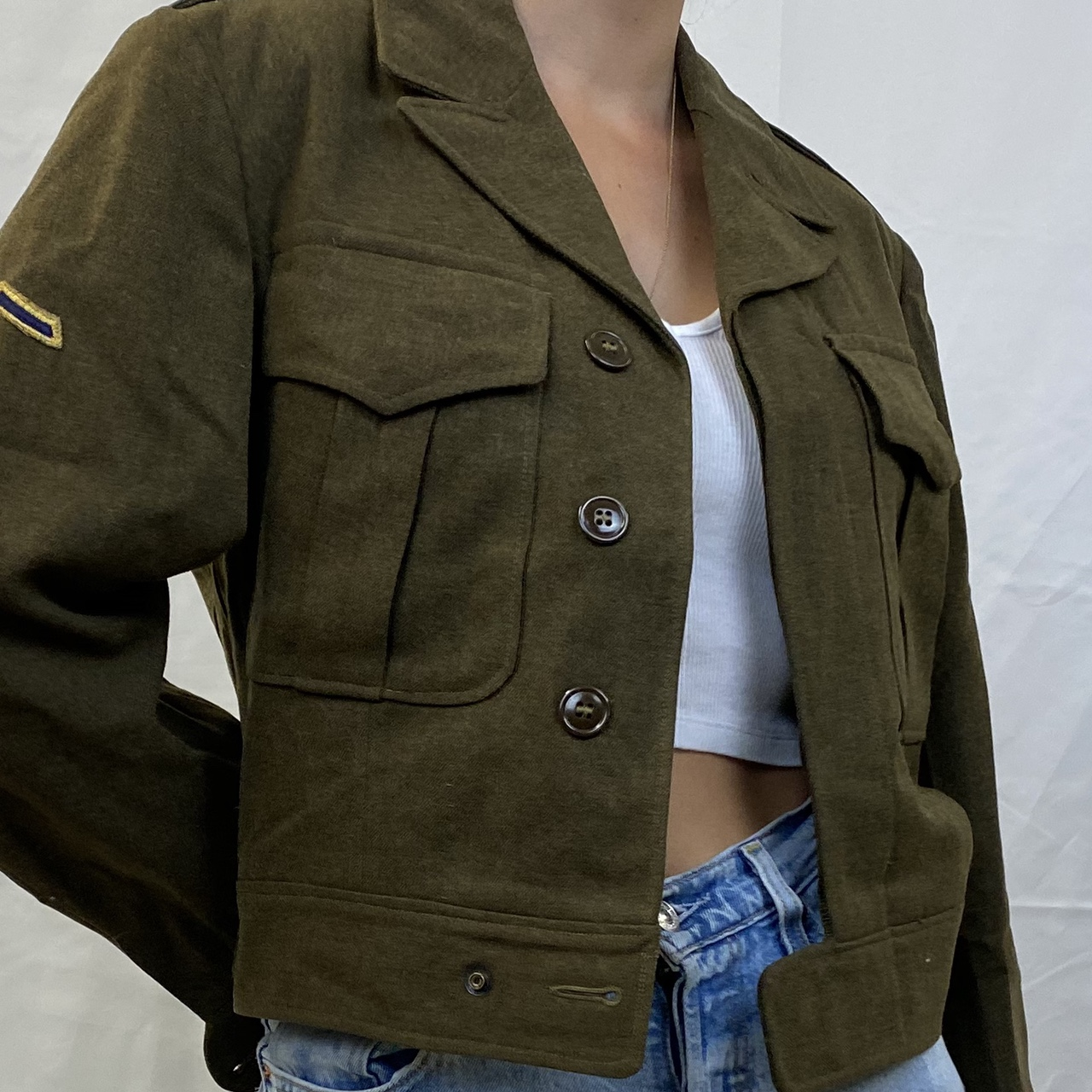 Product Image 1 - Vintage military cropped jacket Patches on