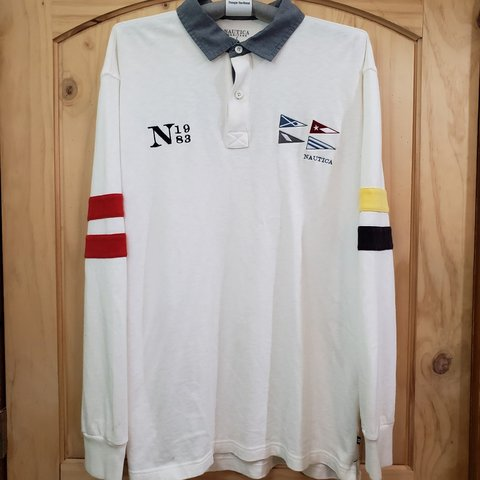 ad353d86 @cj_collect. last month. Olathe, Johnson County, United States. Nautica  Heritage White Long Sleeve Shirt w/ Embroidered Logo ...