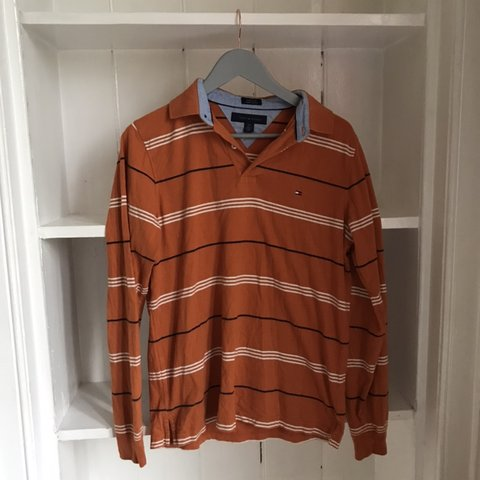 243394f5 Tommy Hilfiger Orange Polo with Long sleeves . Staple item!! - Depop