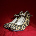 14bf1d03c6cc3 Wine red high wedge shoe. Ankle strap fastening. Worn a of - Depop