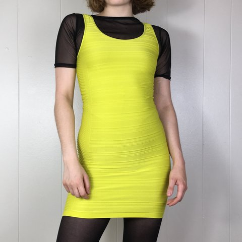 9592904622 Bodycon Bebe dress in electric yellow! In some lighting is a - Depop