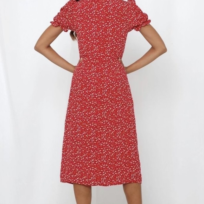 Product Image 1 - Red Floral Dress With White
