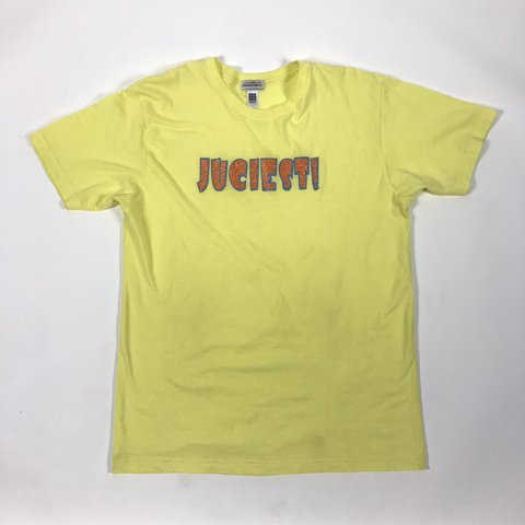 """355d43a9a @kookbyjesse. in 6 hours. San Dimas, United States. """"Juciest!"""" Yellow  Graphic Tee American Apparel Mens ..."""