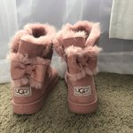 a322cb19149 Ugg boots, powder gita. Suede, Pom poms. Great condition, in - Depop