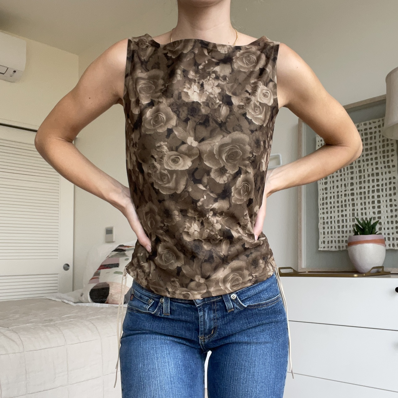 Product Image 1 - Brown rose print shell. Suede