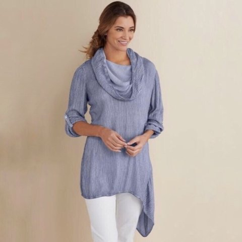 2dfed7cd361 @minnieandnance. 10 days ago. Brownsville, United States. Soft Surroundings  Asymmetrical Gauze Tunic Top Womens ...