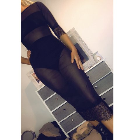 b7eb621e950 ☠ edgy mesh midi dress with lace & bodysuit attachment for - Depop