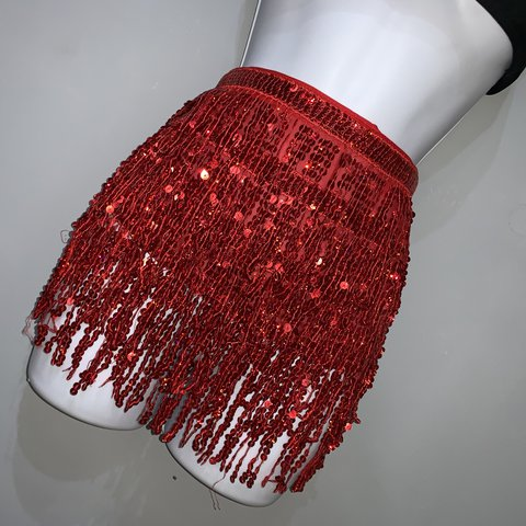 40c274a47050 Red tassel sequin skirt Also available in gold, black, and - - Depop