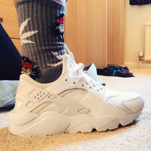 Nike Air Huarache All White On Feet
