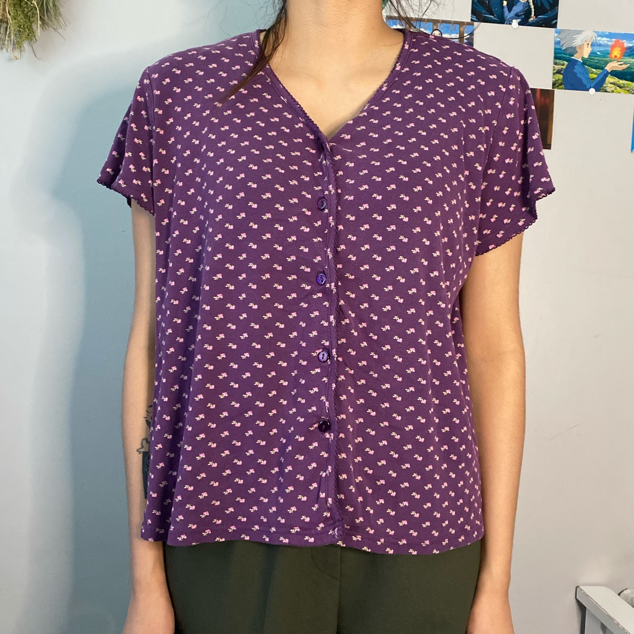 Product Image 1 - Floral purple button up top