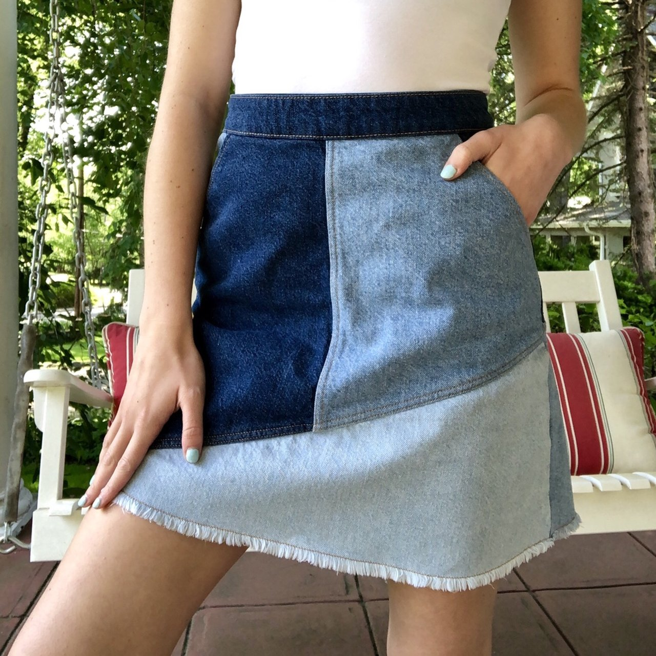 c5fb701f6 adorable zara patchwork denim skirt with pockets and a in a - Depop