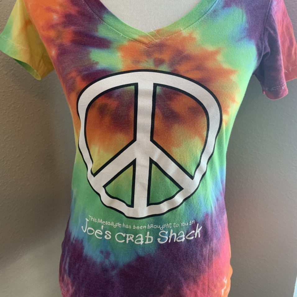 Product Image 1 - Colorful tie-dye V-neck T-shirt Large peace