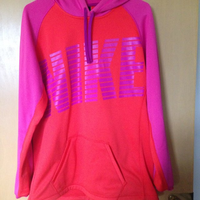 Neon pink and bright orange nike hoodie #nike #hoodie