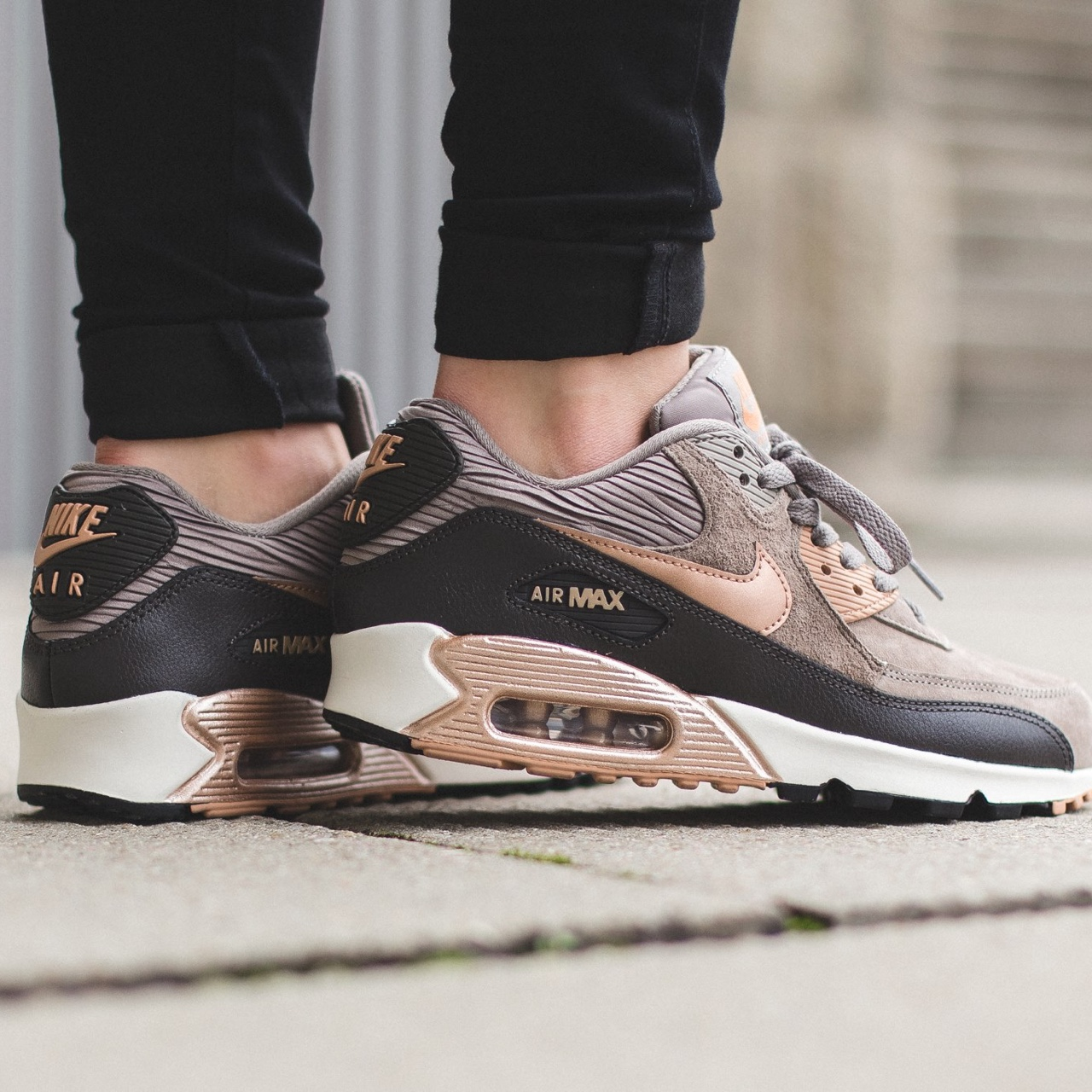 Rose gold and grey suede Nike air max 90 trainers.... - Depop