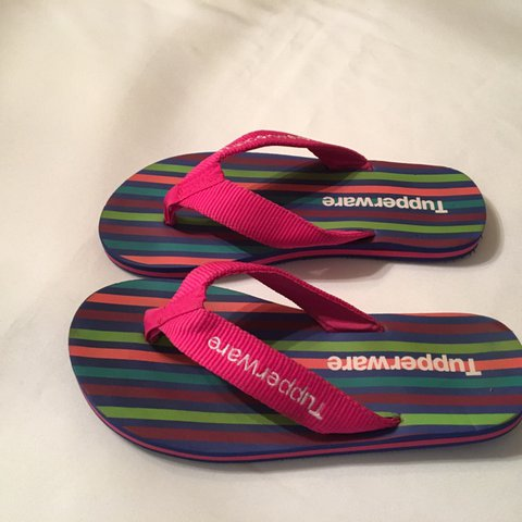 4676f439 Custom striped Tupperware branded Flip Flops with logo on - Depop