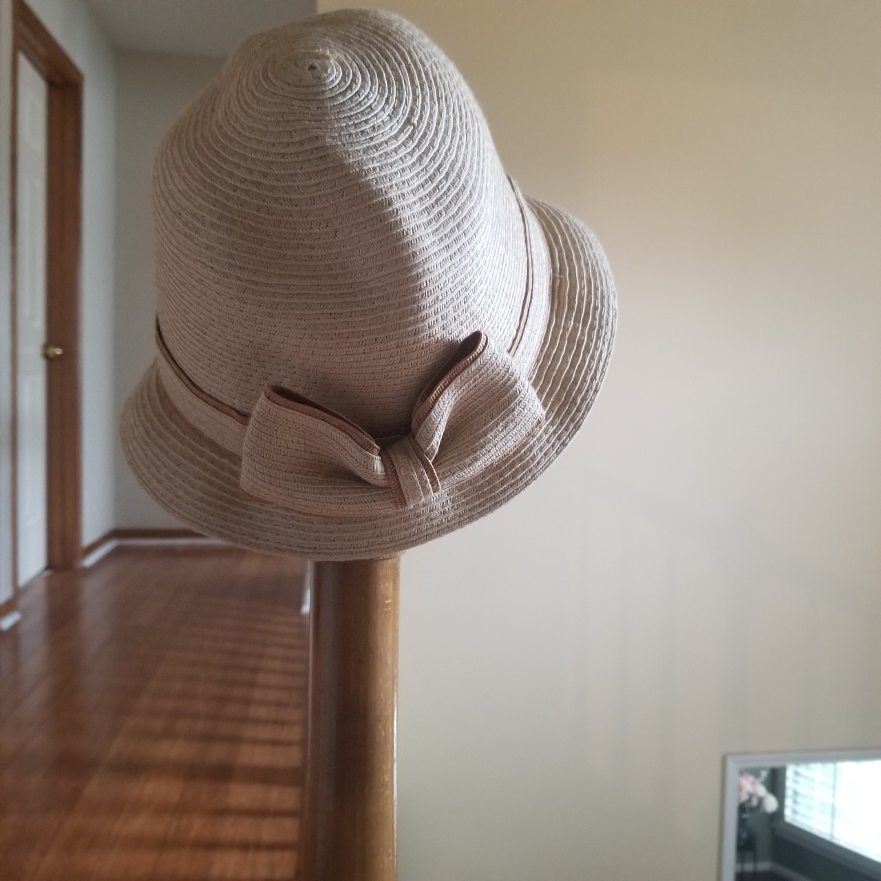 a7c6f78d cutie patootie straw-like woven bucket. $12. Straw boater/sun hat with black
