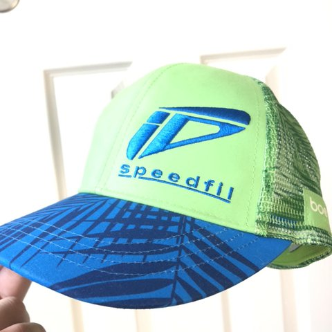 e7defc81 @bvrooke. in 58 minutes. Murrieta, United States. neon green and blue cap  hat