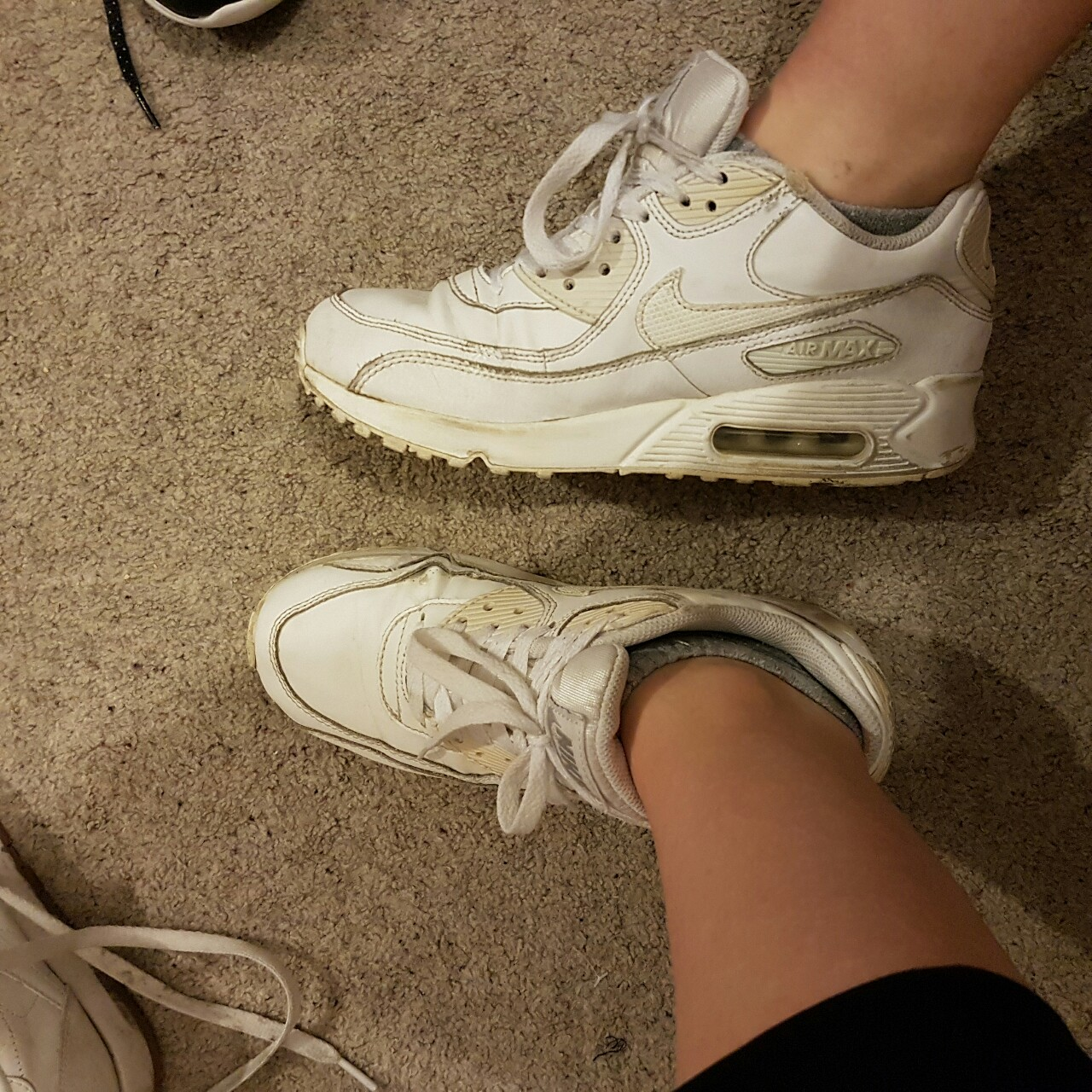 Nike air max 90 vintage style - white with off white... - Depop