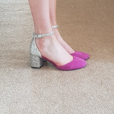 5cbae3e51099a @alicehughesxo. last month. Greater Manchester, GB. Pink and silver glitter  Topshop kitten heels. Great condition, just worn once ...
