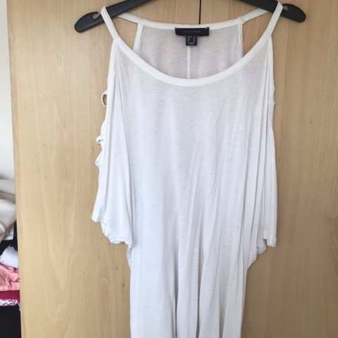 e458b8c9f757 @kristalphilpot. last month. Peacehaven, United Kingdom. plain white top  with open shoulder ...