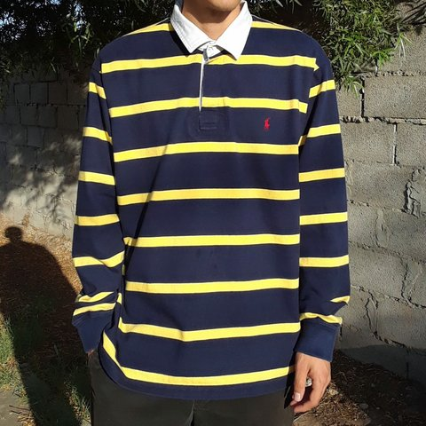 106cce171fa @mynameisseven. 3 hours ago. Phoenix, Arizona, US. Vintage 90s Polo Ralph  Lauren blue / yellow striped longsleeve rugby shirt.