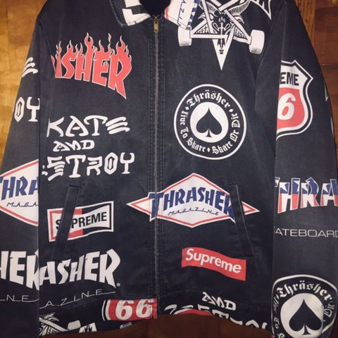 b722cd5778d @possy56. in 4 hours. Los Angeles, United States. Supreme x Thrasher Work  Jacket ...