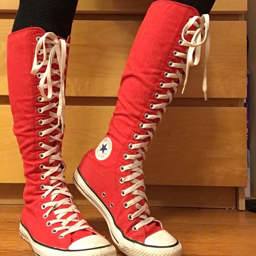 knee high converse shoes RED size women's 9. cleaned... - Depop