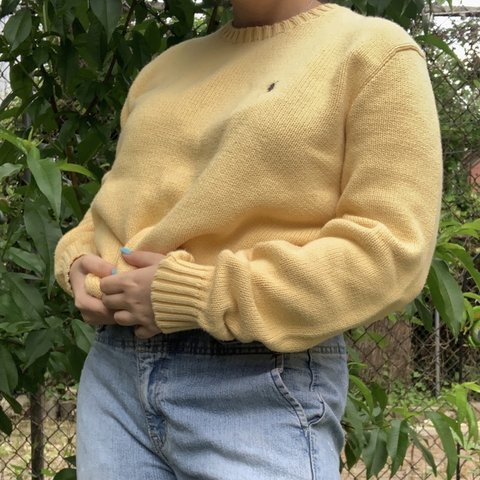 d8efe32b4 Yellow Polo Ralph Lauren Sweater 💛 Size Small (definitely a - Depop