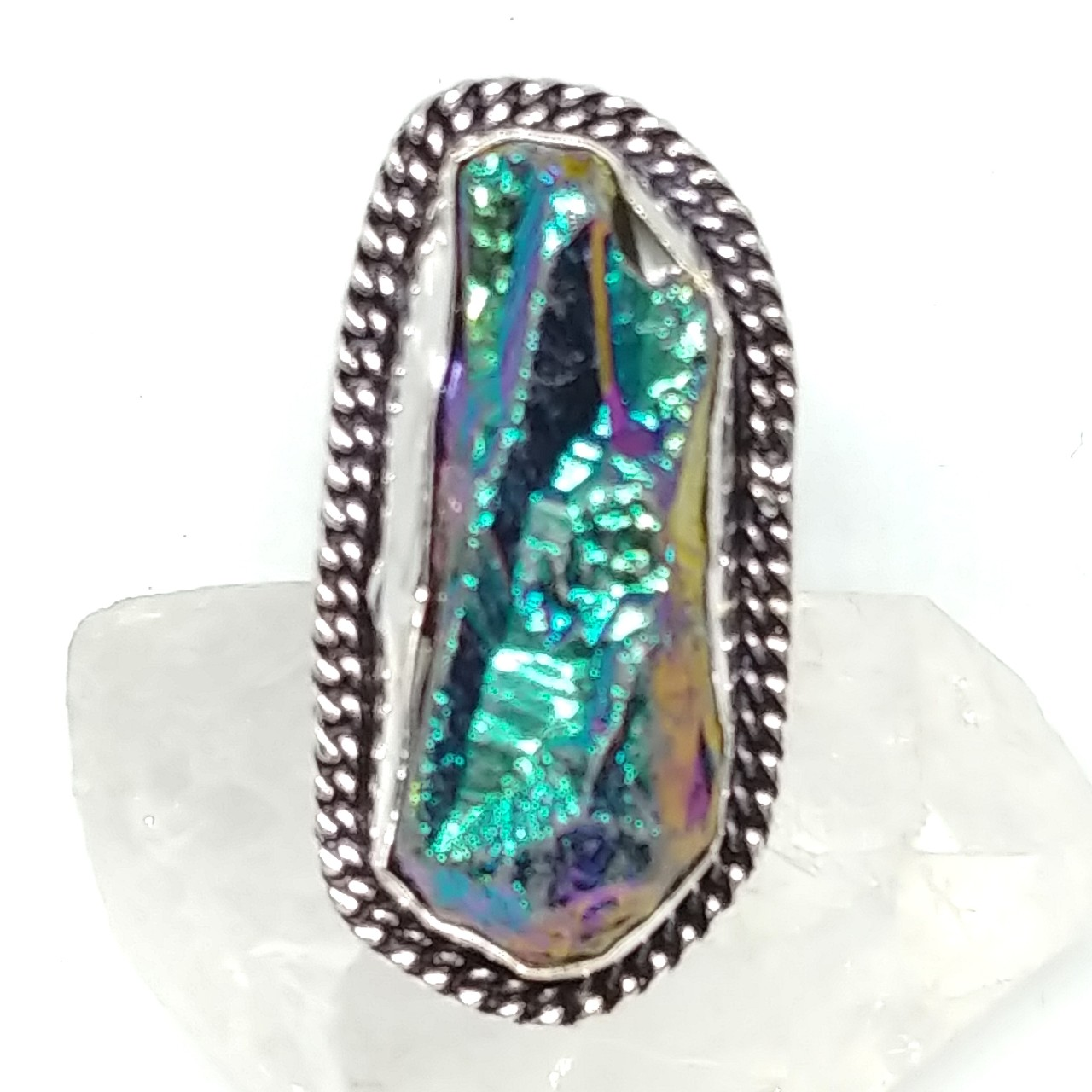 Product Image 1 - Titanium Rough Crystal Silver Ring.
