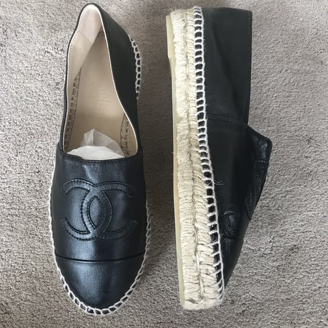 235757854 Black leather chanel espadrilles size 37. Worn once so in a - Depop