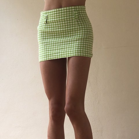 950c2a115564c CUTEST vintage lime-green plaid skirt 🌵💚💚Very Just too on - Depop