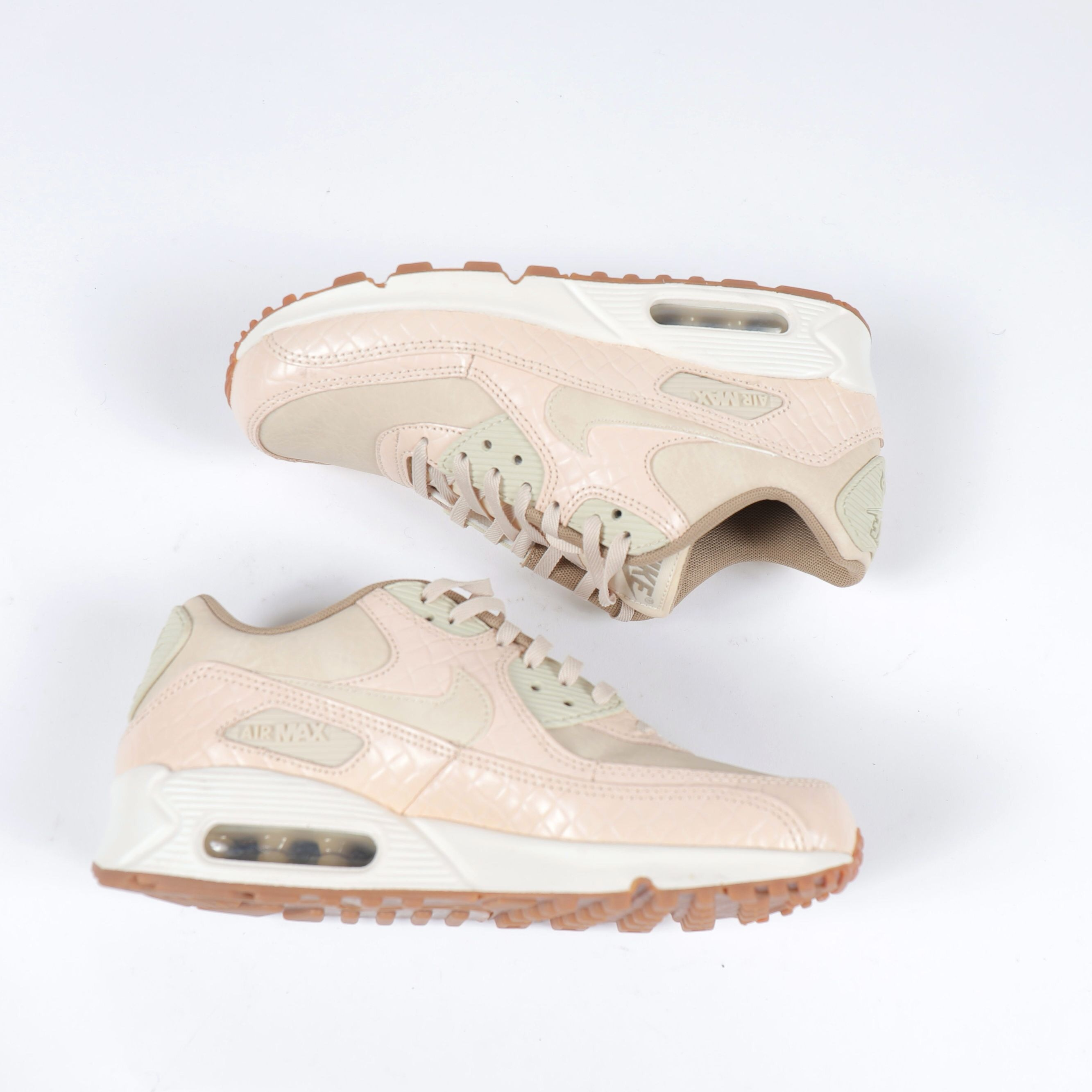 Nike Air Max 90 in pink croc and cream suede. Size... - Depop