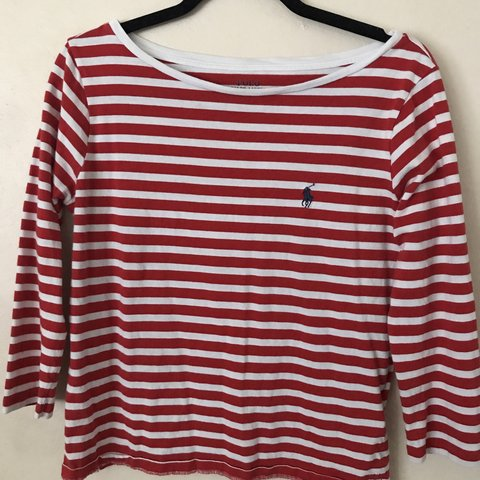 48b263db3f741e women's small red and white striped long sleeve polo shirt - Depop