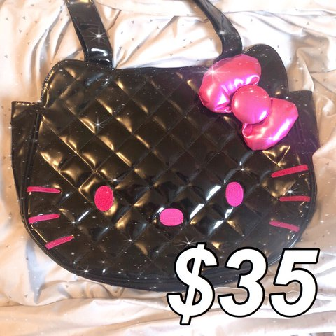 89aa10297 hello kitty loungefly black pink large purse!! this is so it - Depop