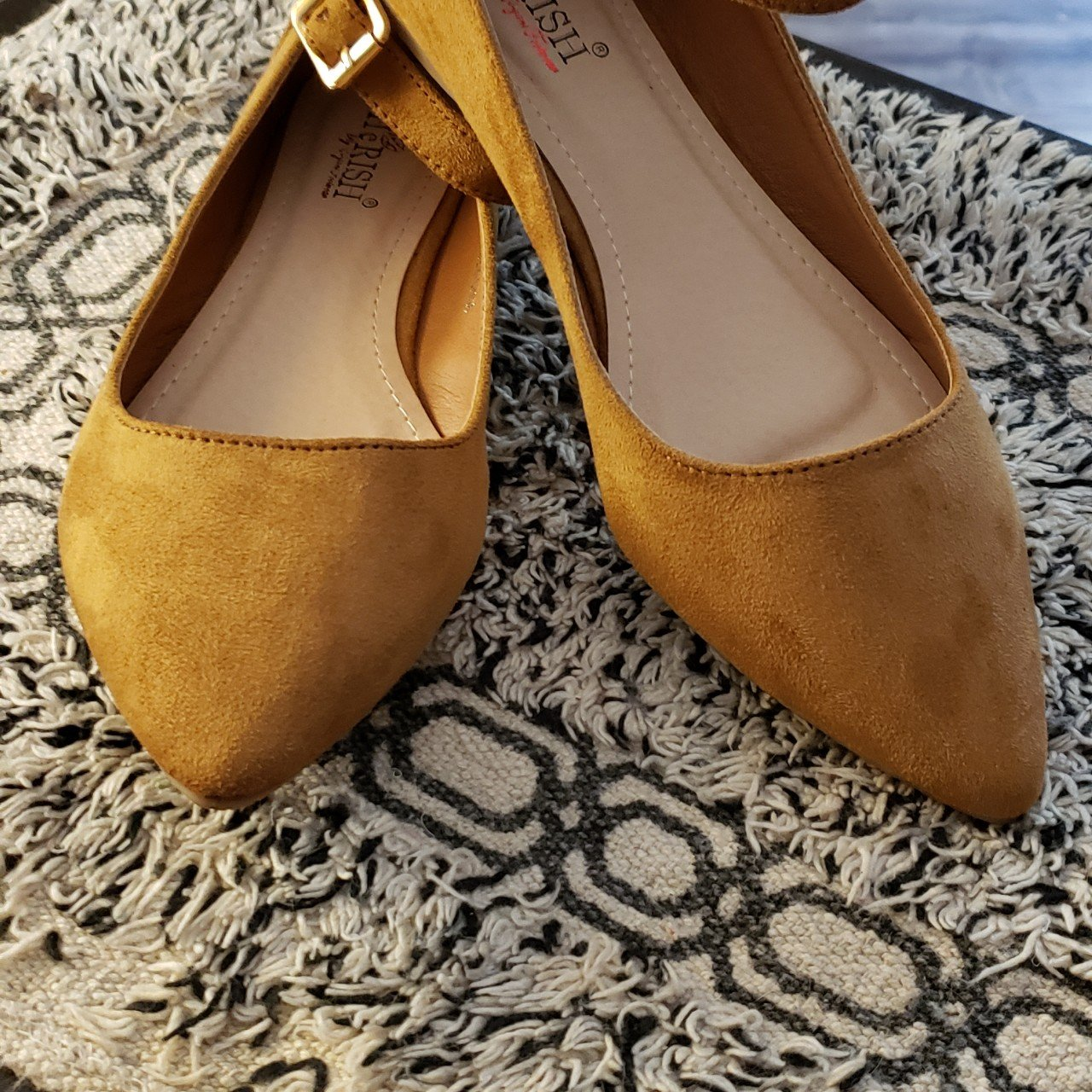good quality best value on feet images of Camel brown pointed toe flats with ankle strap size 6 never - Depop