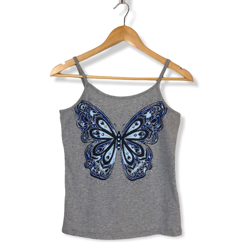 Product Image 1 - Y2K Glitter Butterfly Tank Top Gray