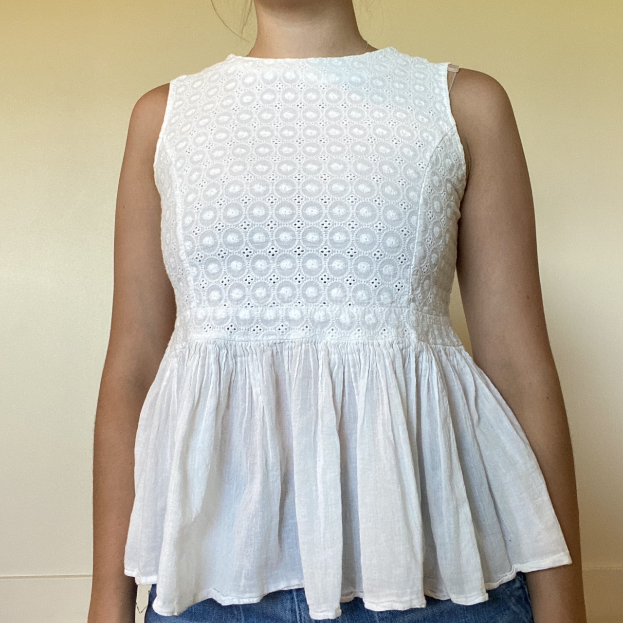 Product Image 1 - broderie anglaise white tank from