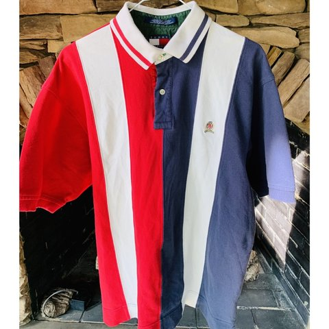 ebaaf59bd @ridge_drake. 5 days ago. Anderson, United States. 🇺🇸 Vintage Tommy  Hilfiger Crested Polo red white and blue color blocking ...