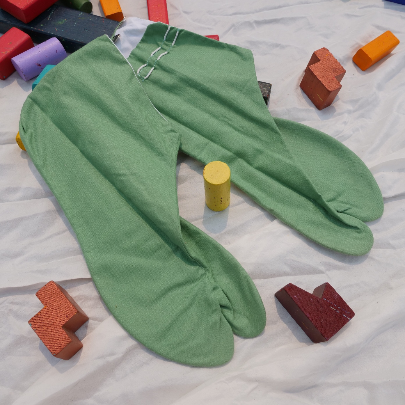 Product Image 1 - Vintage green cotton tabi socks/slippers Made