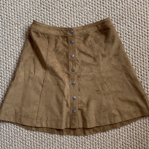 7229a34a6 Brown suede A-line, button up skirt in extremely good Only a - Depop