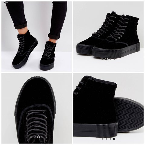 144cac1812193 @xtinavee. 21 days ago. Los Angeles, United States. Monki brand black  velvet platform/flatform shoes ...