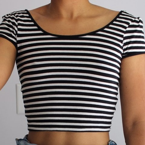 d9128eff120 @puristique. in 22 hours. United States. Black and white striped crop t  shirt