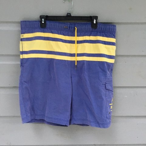 1394217625 @houstonheaters. 4 days ago. Houston, United States. Vintage, Polo Ralph  Lauren swim trunks. Classic blue and yellow ...