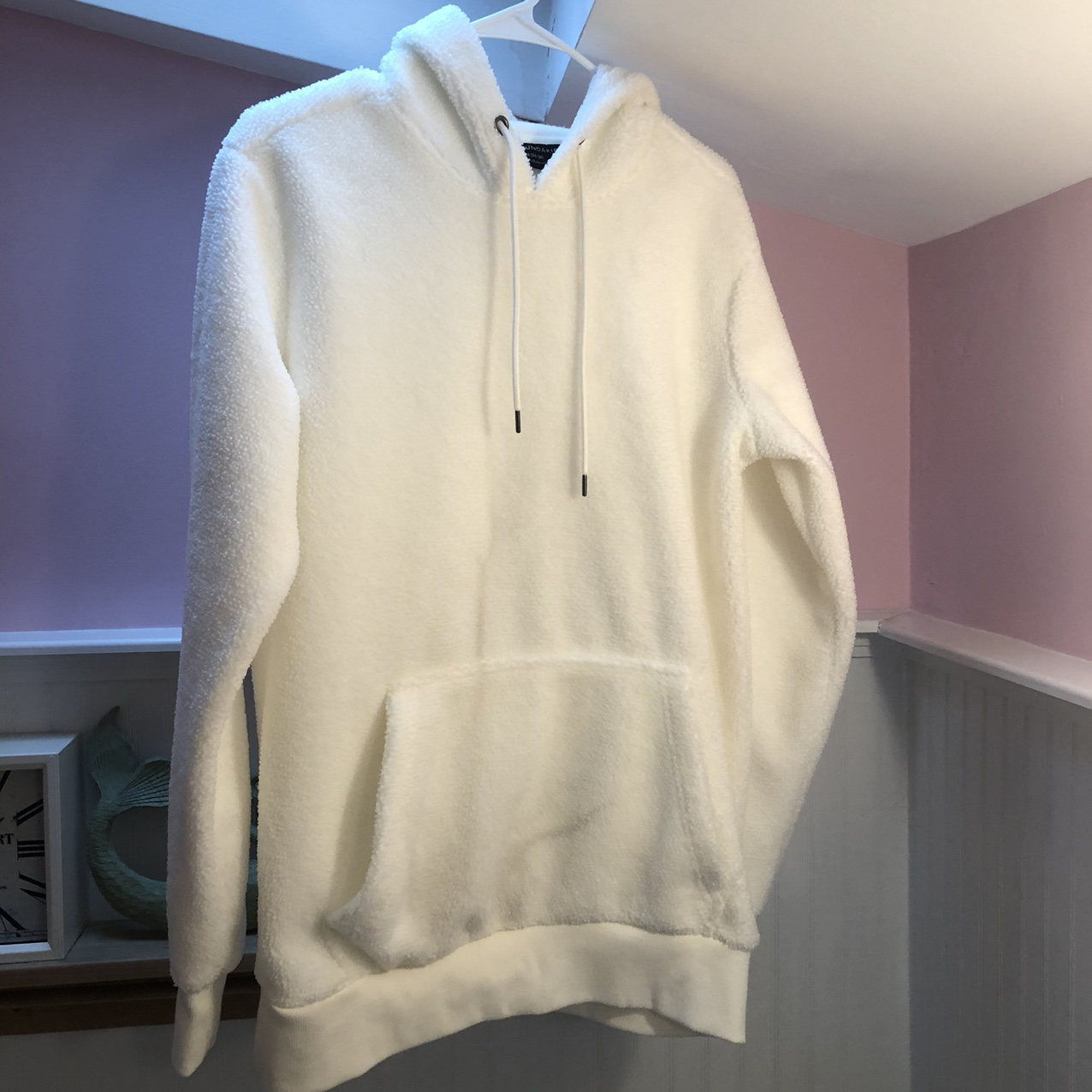 Product Image 1 - white fleece hoodie size small