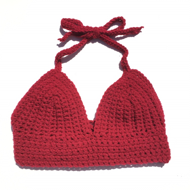 Product Image 1 - Handmade dark red bralette with