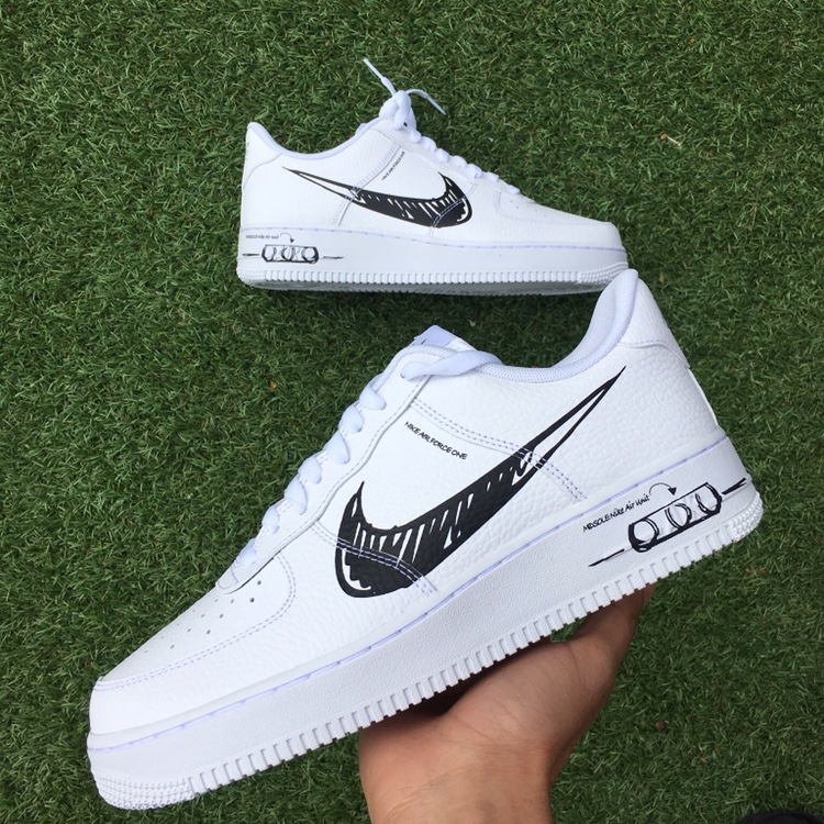 Nike Air Force 1 Scribble White. Brand new with box.... - Depop